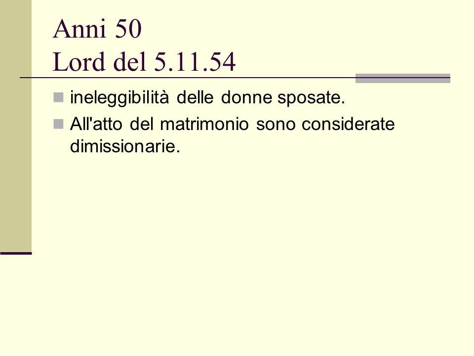 Anni 50 Lord del 5.11.54 ineleggibilità delle donne sposate.