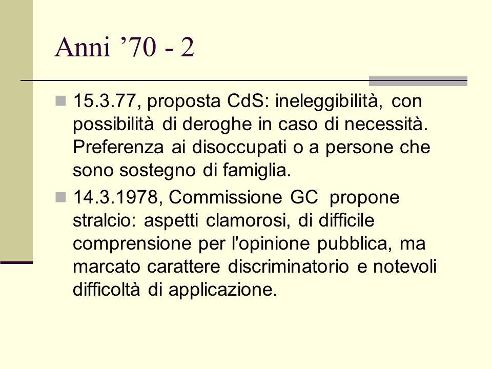 Anni 70 - 2 15.3.77, proposta CdS: ineleggibilità, con possibilità di deroghe in caso di necessità.