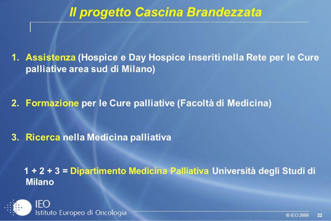 22© IEO 2008 1.Assistenza (Hospice e Day Hospice inseriti nella Rete per le Cure palliative area sud di Milano) 2.Formazione per le Cure palliative (F
