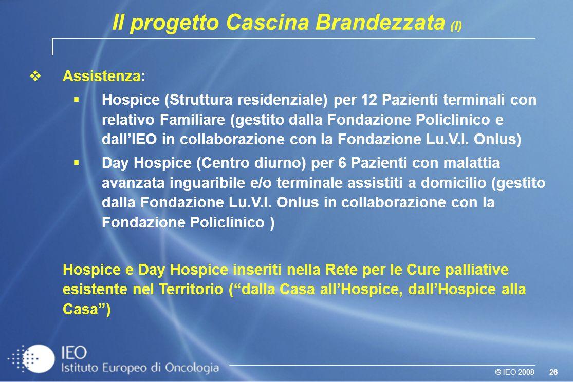 26© IEO 2008 Il progetto Cascina Brandezzata (I) vAssistenza: Hospice (Struttura residenziale) per 12 Pazienti terminali con relativo Familiare (gestito dalla Fondazione Policlinico e dallIEO in collaborazione con la Fondazione Lu.V.I.