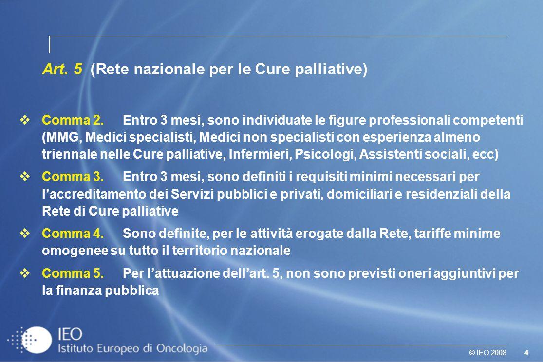 4© IEO 2008 Art. 5 (Rete nazionale per le Cure palliative) Comma 2. Entro 3 mesi, sono individuate le figure professionali competenti (MMG, Medici spe