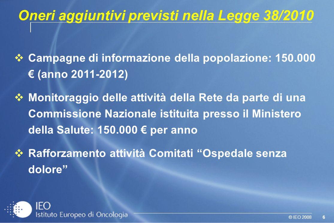 6© IEO 2008 Campagne di informazione della popolazione: 150.000 (anno 2011-2012) Monitoraggio delle attività della Rete da parte di una Commissione Na