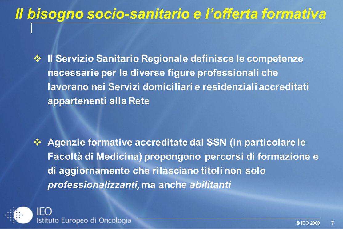 7© IEO 2008 Il Servizio Sanitario Regionale definisce le competenze necessarie per le diverse figure professionali che lavorano nei Servizi domiciliar