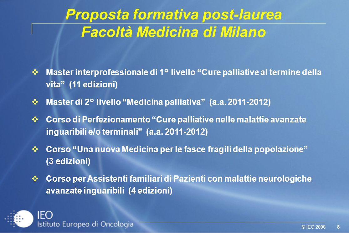 8© IEO 2008 Master interprofessionale di 1° livello Cure palliative al termine della vita (11 edizioni) Master di 2° livello Medicina palliativa (a.a.