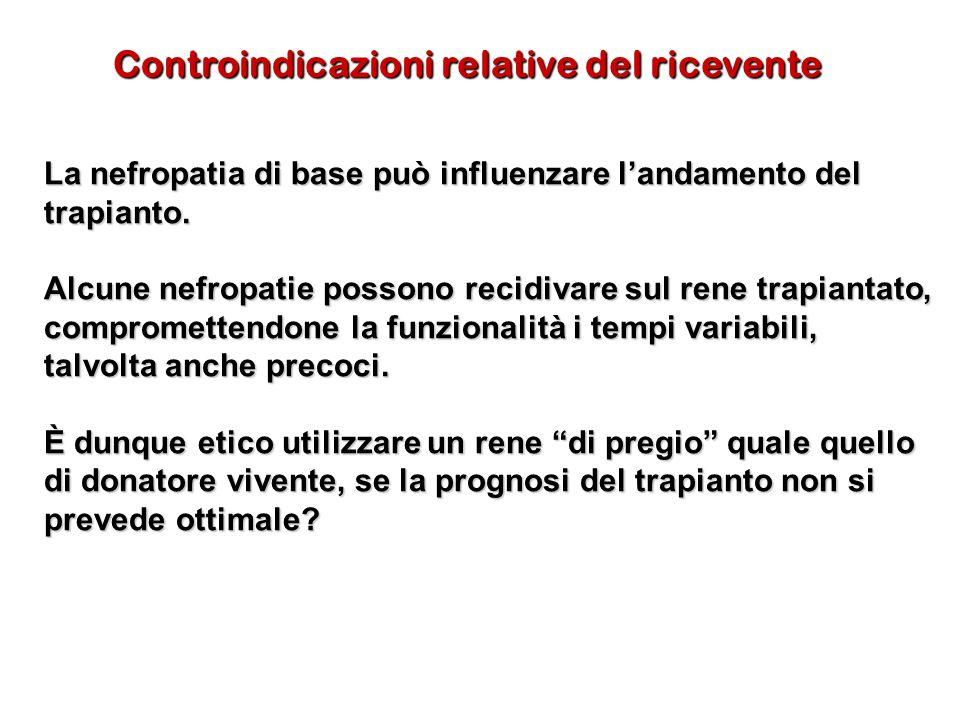 Controindicazioni relative del ricevente La nefropatia di base può influenzare landamento del trapianto. Alcune nefropatie possono recidivare sul rene