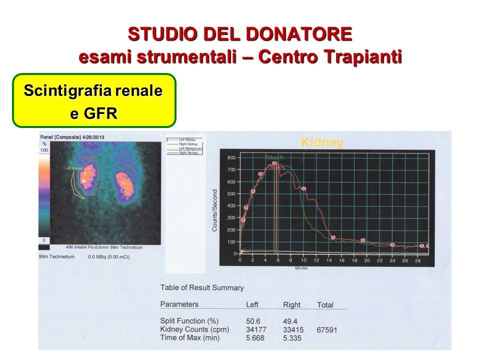 STUDIO DEL DONATORE esami strumentali – Centro Trapianti Scintigrafia renale e GFR