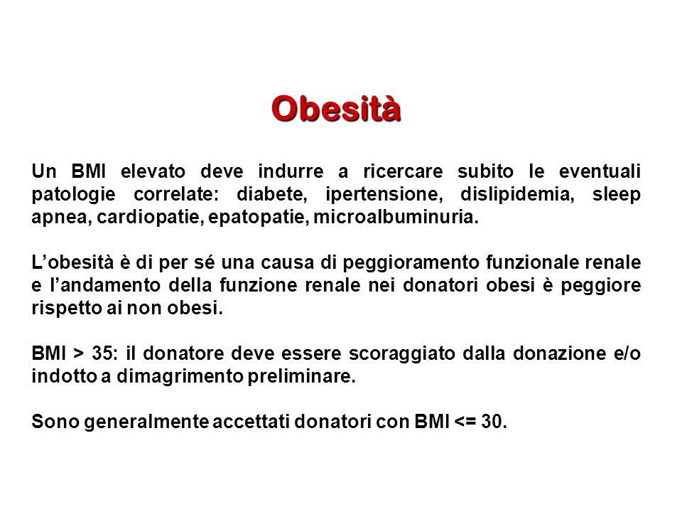 Obesità Un BMI elevato deve indurre a ricercare subito le eventuali patologie correlate: diabete, ipertensione, dislipidemia, sleep apnea, cardiopatie