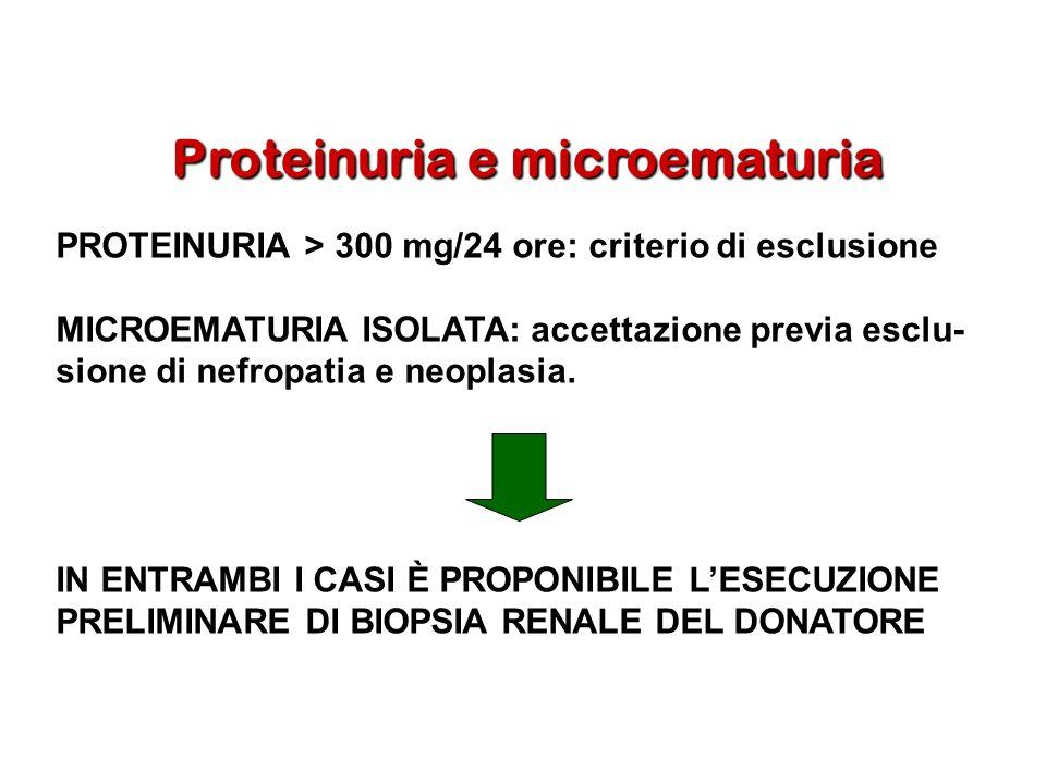 Proteinuria e microematuria PROTEINURIA > 300 mg/24 ore: criterio di esclusione MICROEMATURIA ISOLATA: accettazione previa esclu- sione di nefropatia
