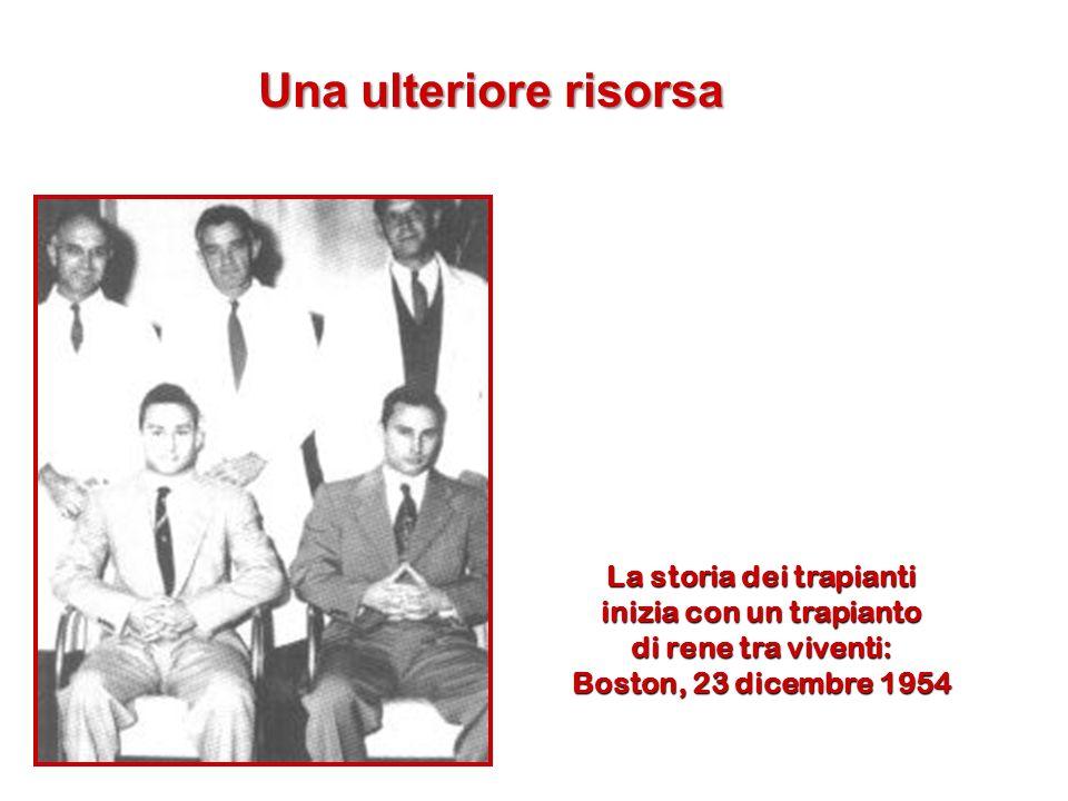 La storia dei trapianti inizia con un trapianto di rene tra viventi: Boston, 23 dicembre 1954 Una ulteriore risorsa