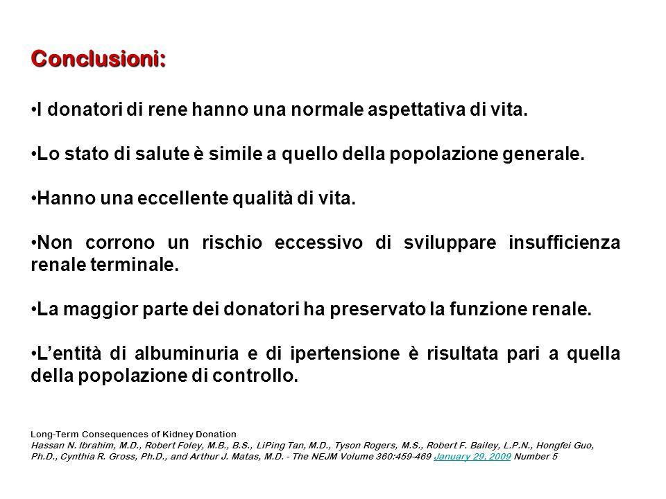Conclusioni: I donatori di rene hanno una normale aspettativa di vita.I donatori di rene hanno una normale aspettativa di vita. Lo stato di salute è s