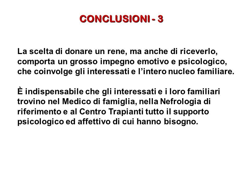 CONCLUSIONI - 3 La scelta di donare un rene, ma anche di riceverlo, comporta un grosso impegno emotivo e psicologico, che coinvolge gli interessati e