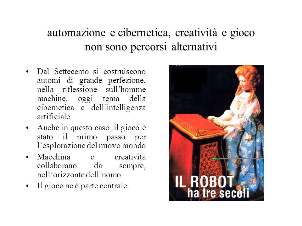 automazione e cibernetica, creatività e gioco non sono percorsi alternativi Dal Settecento si costruiscono automi di grande perfezione, nella riflessi