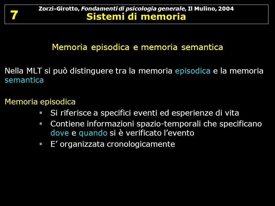 Zorzi-Girotto, Fondamenti di psicologia generale, Il Mulino, 2004 Sistemi di memoria 7 7 Memoria episodica e memoria semantica Nella MLT si può distin