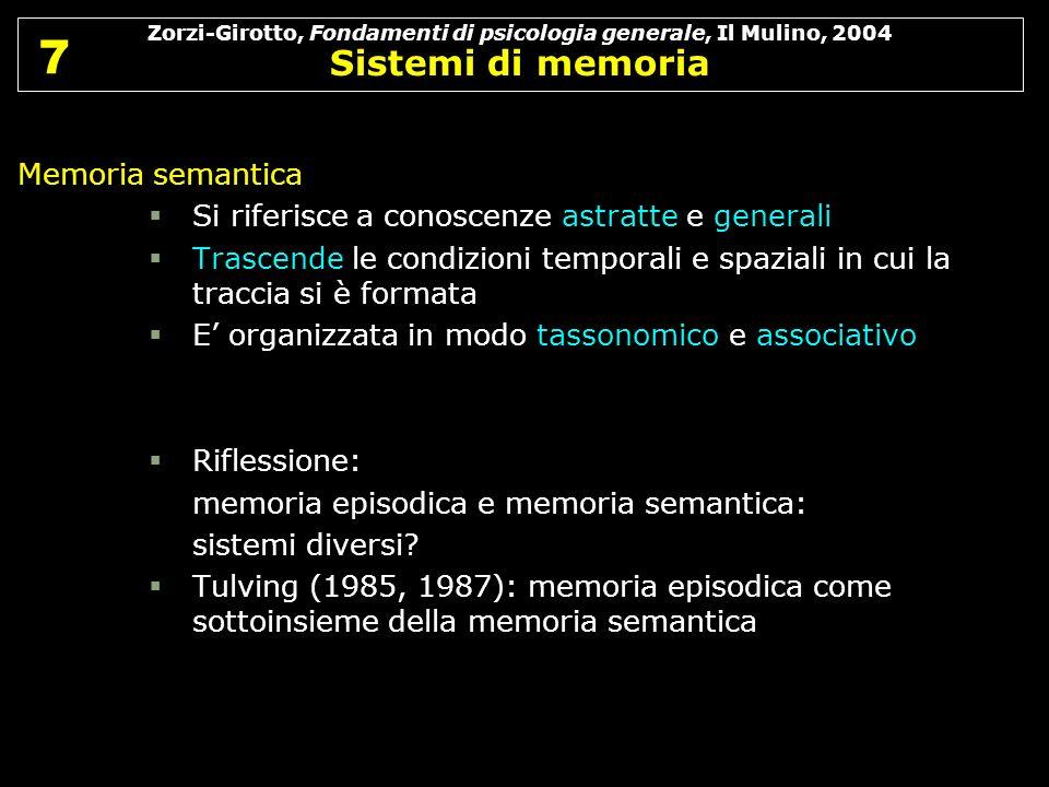Zorzi-Girotto, Fondamenti di psicologia generale, Il Mulino, 2004 Sistemi di memoria 7 7 Memoria semantica Si riferisce a conoscenze astratte e genera