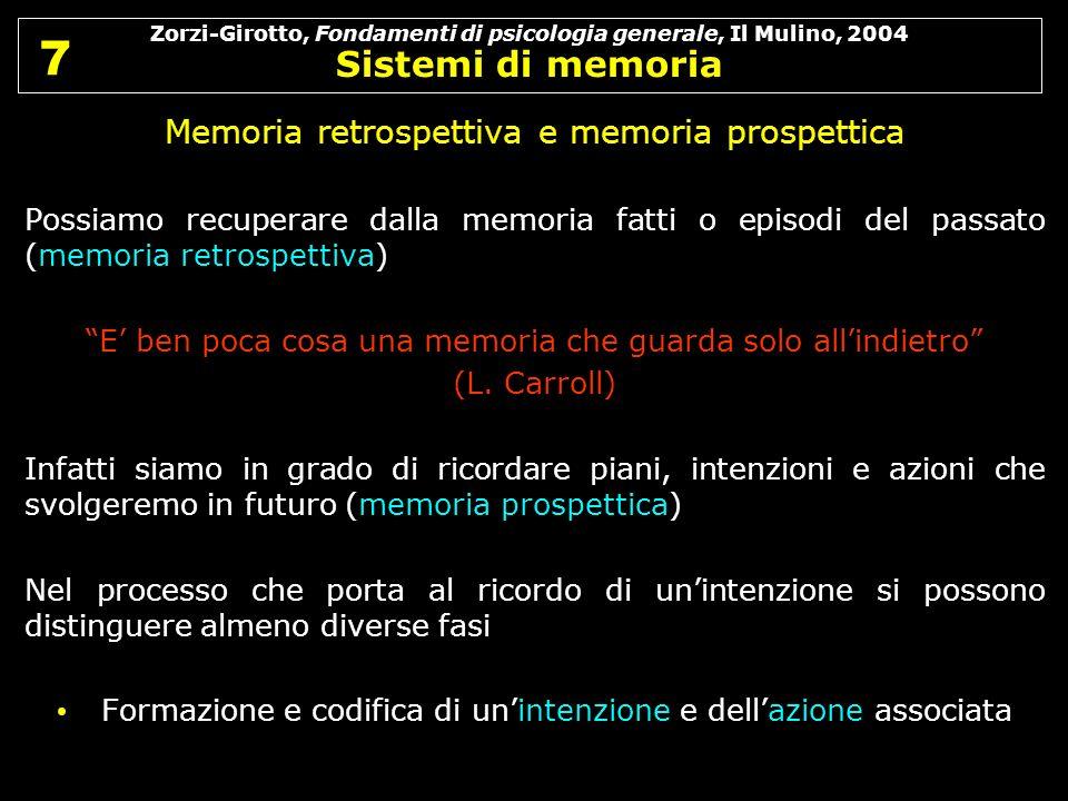 Zorzi-Girotto, Fondamenti di psicologia generale, Il Mulino, 2004 Sistemi di memoria 7 7 Memoria retrospettiva e memoria prospettica Possiamo recupera