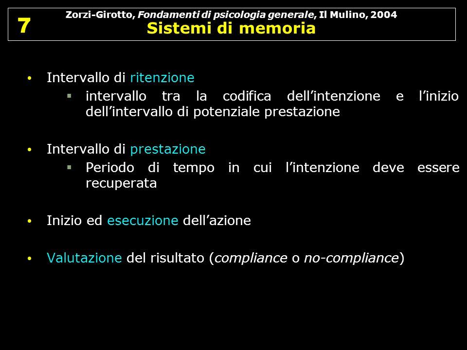 Zorzi-Girotto, Fondamenti di psicologia generale, Il Mulino, 2004 Sistemi di memoria 7 7 Intervallo di ritenzione intervallo tra la codifica dellinten