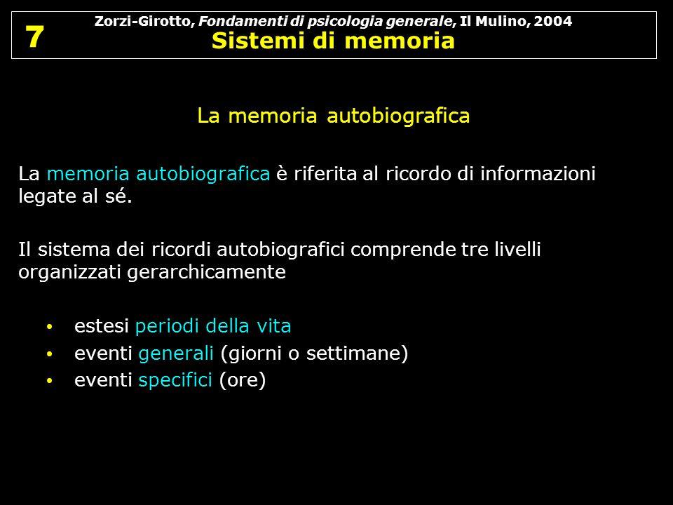 Zorzi-Girotto, Fondamenti di psicologia generale, Il Mulino, 2004 Sistemi di memoria 7 7 La memoria autobiografica La memoria autobiografica è riferit