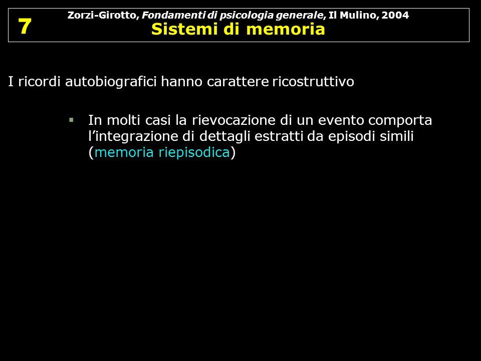 Zorzi-Girotto, Fondamenti di psicologia generale, Il Mulino, 2004 Sistemi di memoria 7 7 I ricordi autobiografici hanno carattere ricostruttivo In mol
