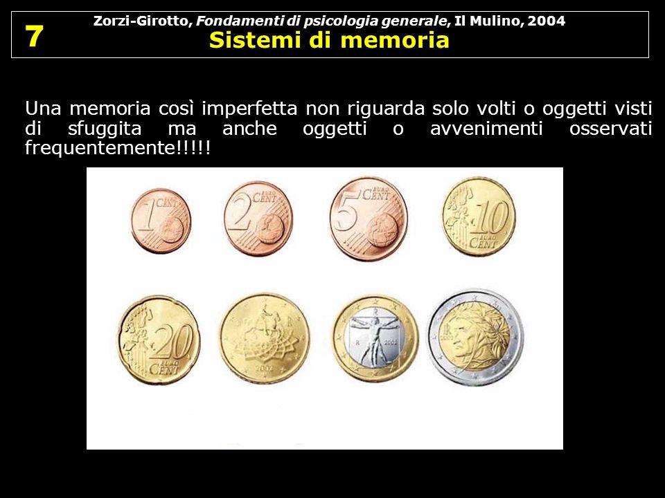 Zorzi-Girotto, Fondamenti di psicologia generale, Il Mulino, 2004 Sistemi di memoria 7 7 Una memoria così imperfetta non riguarda solo volti o oggetti