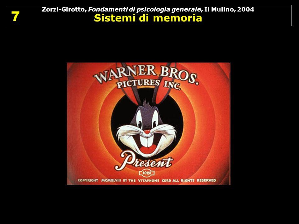 Zorzi-Girotto, Fondamenti di psicologia generale, Il Mulino, 2004 Sistemi di memoria 7 7