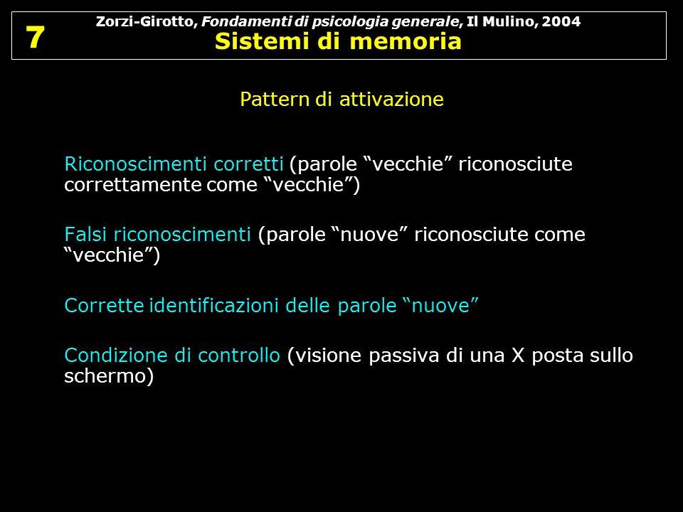 Zorzi-Girotto, Fondamenti di psicologia generale, Il Mulino, 2004 Sistemi di memoria 7 7 Pattern di attivazione Riconoscimenti corretti (parole vecchi