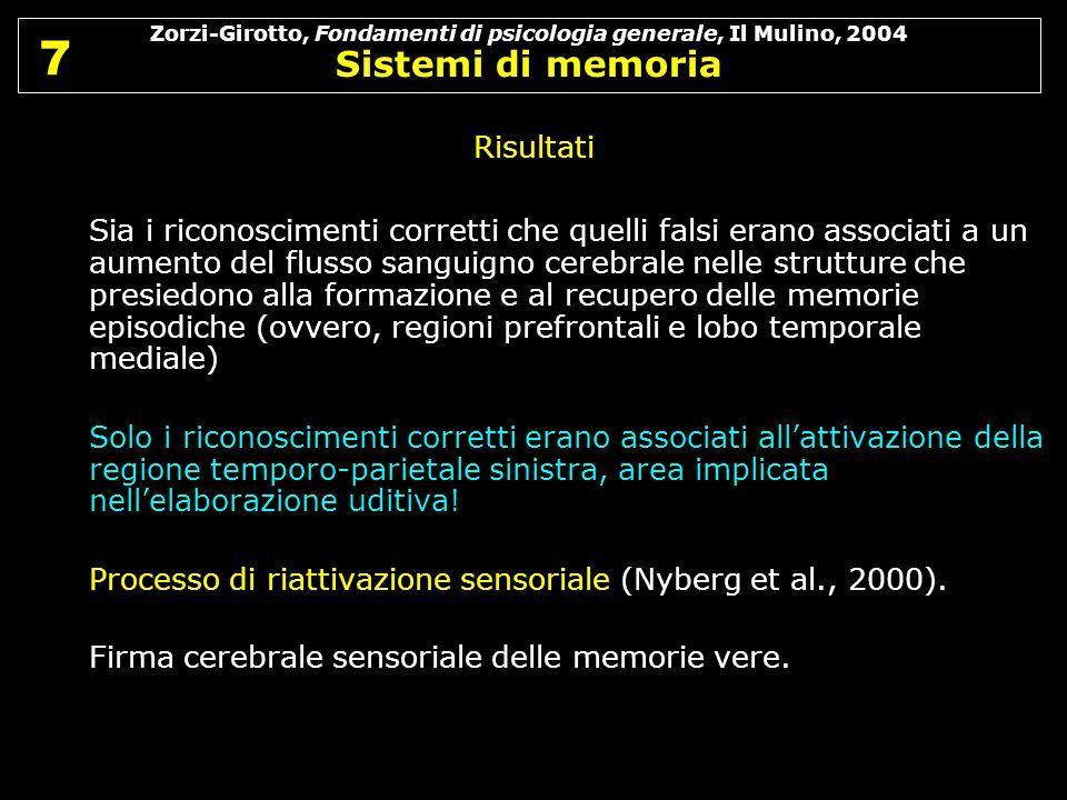 Zorzi-Girotto, Fondamenti di psicologia generale, Il Mulino, 2004 Sistemi di memoria 7 7 Risultati Sia i riconoscimenti corretti che quelli falsi eran