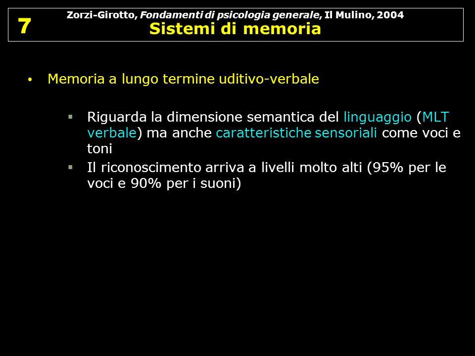 7 7 Memoria a lungo termine uditivo-verbale Riguarda la dimensione semantica del linguaggio (MLT verbale) ma anche caratteristiche sensoriali come voc