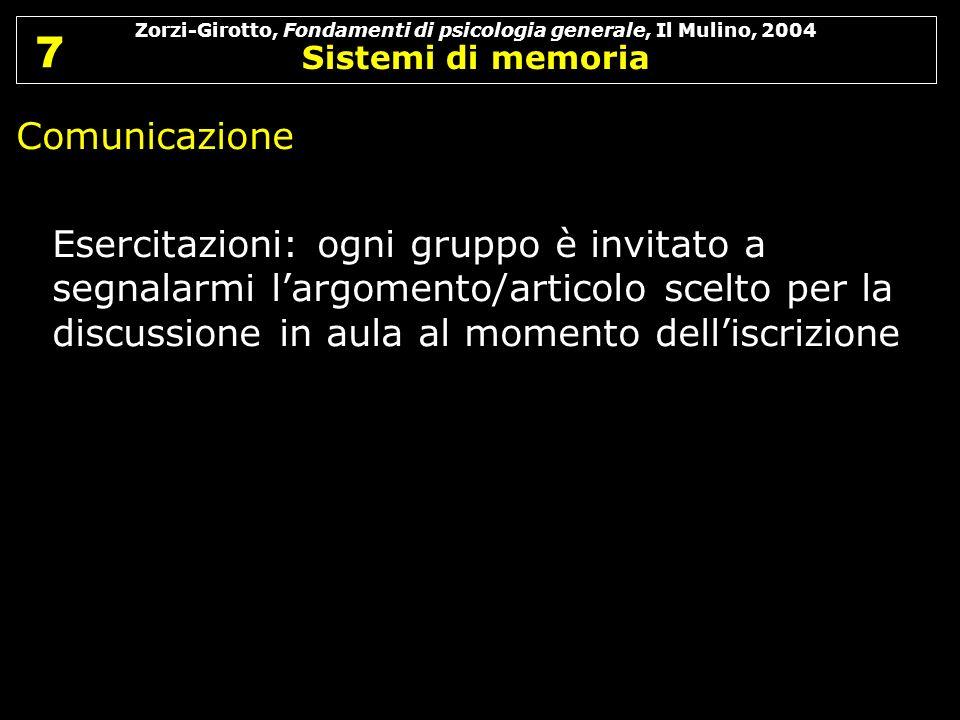Zorzi-Girotto, Fondamenti di psicologia generale, Il Mulino, 2004 Sistemi di memoria 7 7 Comunicazione Esercitazioni: ogni gruppo è invitato a segnala
