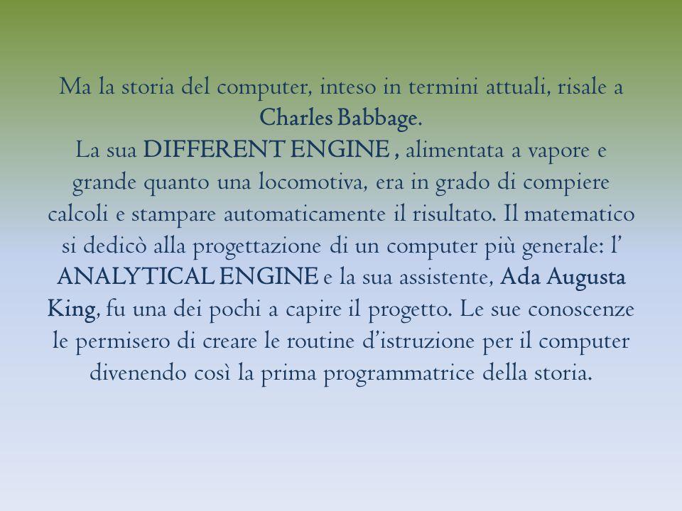 Ma la storia del computer, inteso in termini attuali, risale a Charles Babbage.