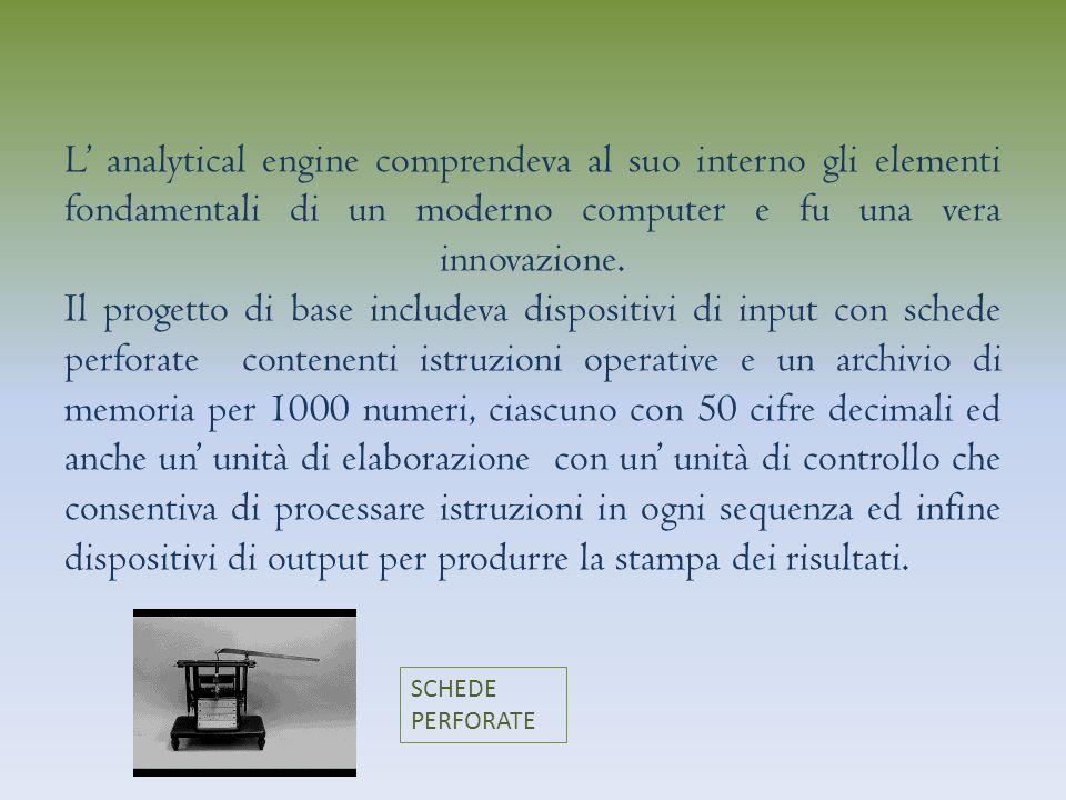 L analytical engine comprendeva al suo interno gli elementi fondamentali di un moderno computer e fu una vera innovazione.