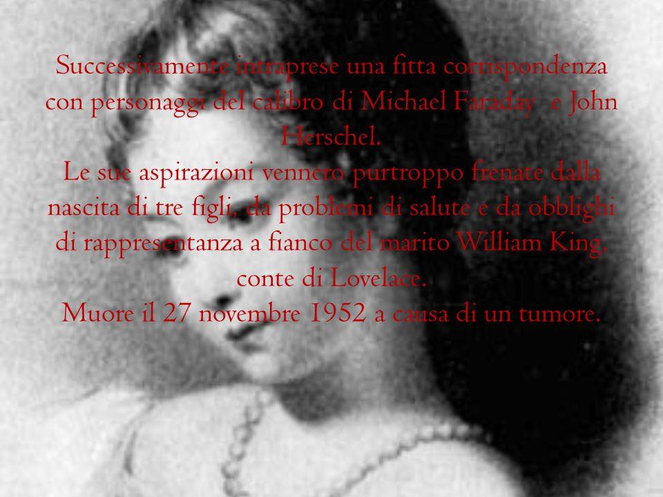 Successivamente intraprese una fitta corrispondenza con personaggi del calibro di Michael Faraday e John Herschel.