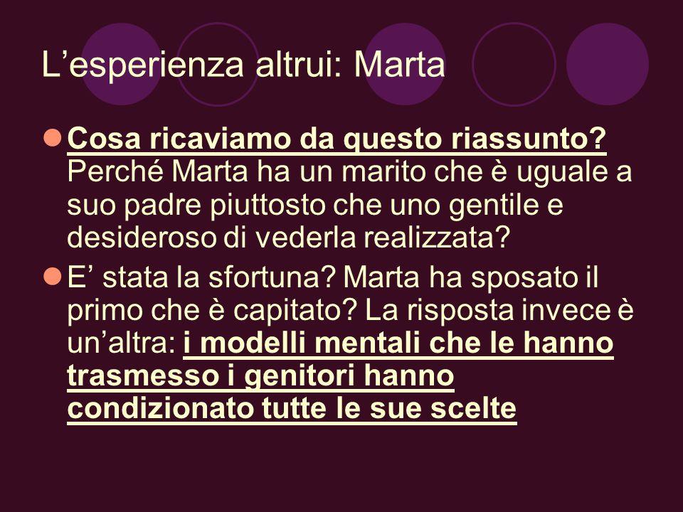 Lesperienza altrui: Marta Cosa ricaviamo da questo riassunto? Perché Marta ha un marito che è uguale a suo padre piuttosto che uno gentile e desideros