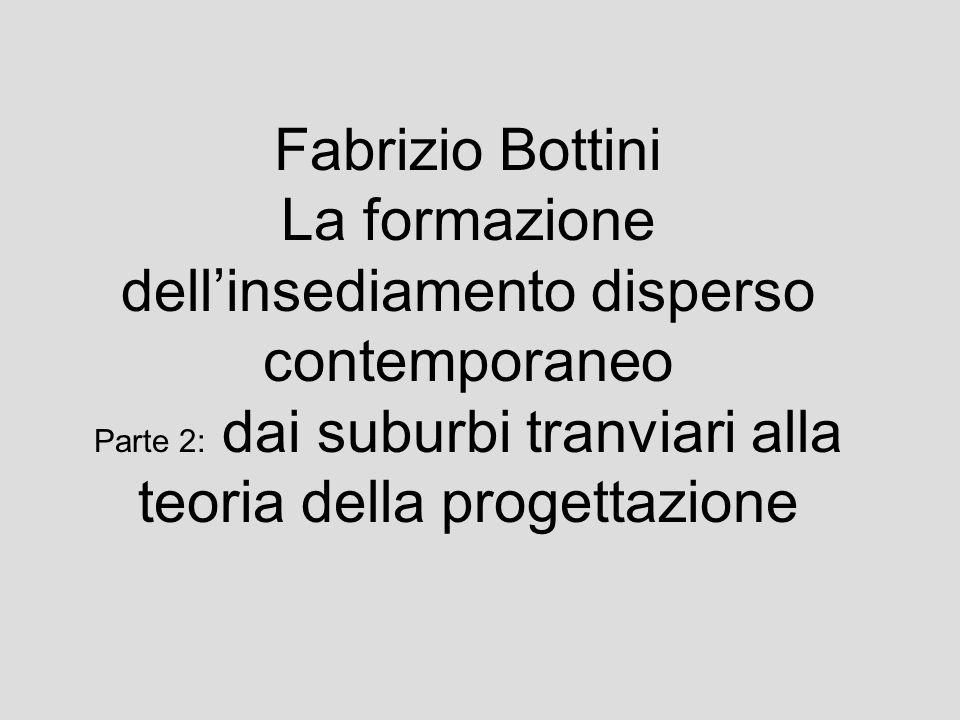 Fabrizio Bottini La formazione dellinsediamento disperso contemporaneo Parte 2: dai suburbi tranviari alla teoria della progettazione