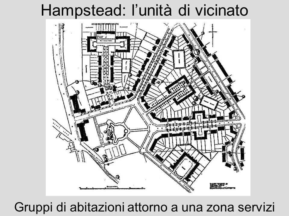 Hampstead: lunità di vicinato Gruppi di abitazioni attorno a una zona servizi