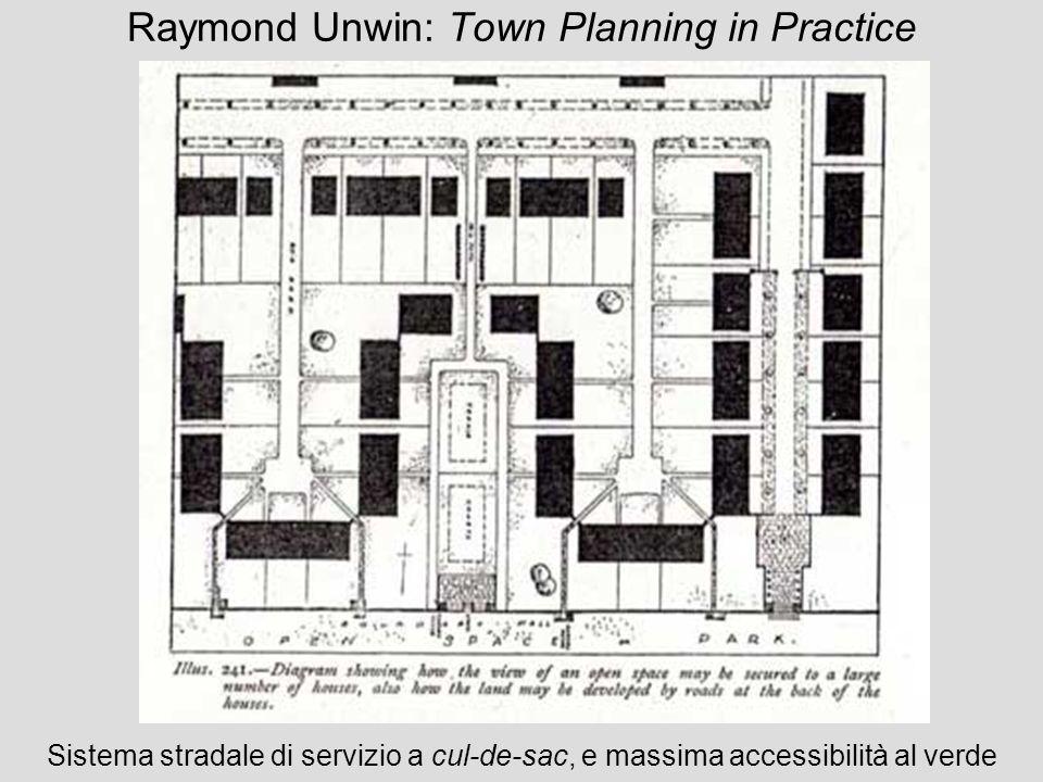 Raymond Unwin: Town Planning in Practice Sistema stradale di servizio a cul-de-sac, e massima accessibilità al verde