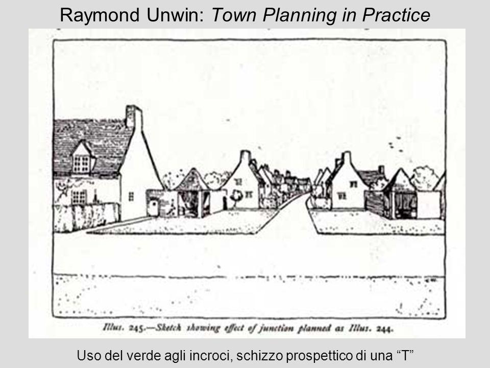 Raymond Unwin: Town Planning in Practice Uso del verde agli incroci, schizzo prospettico di una T