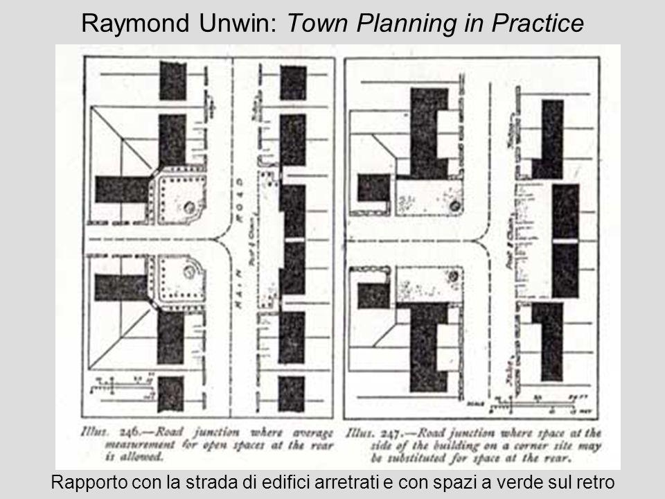 Raymond Unwin: Town Planning in Practice Rapporto con la strada di edifici arretrati e con spazi a verde sul retro