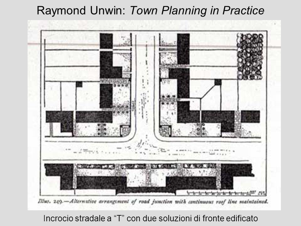 Raymond Unwin: Town Planning in Practice Incrocio stradale a T con due soluzioni di fronte edificato