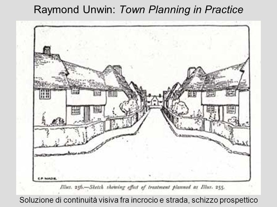 Raymond Unwin: Town Planning in Practice Soluzione di continuità visiva fra incrocio e strada, schizzo prospettico