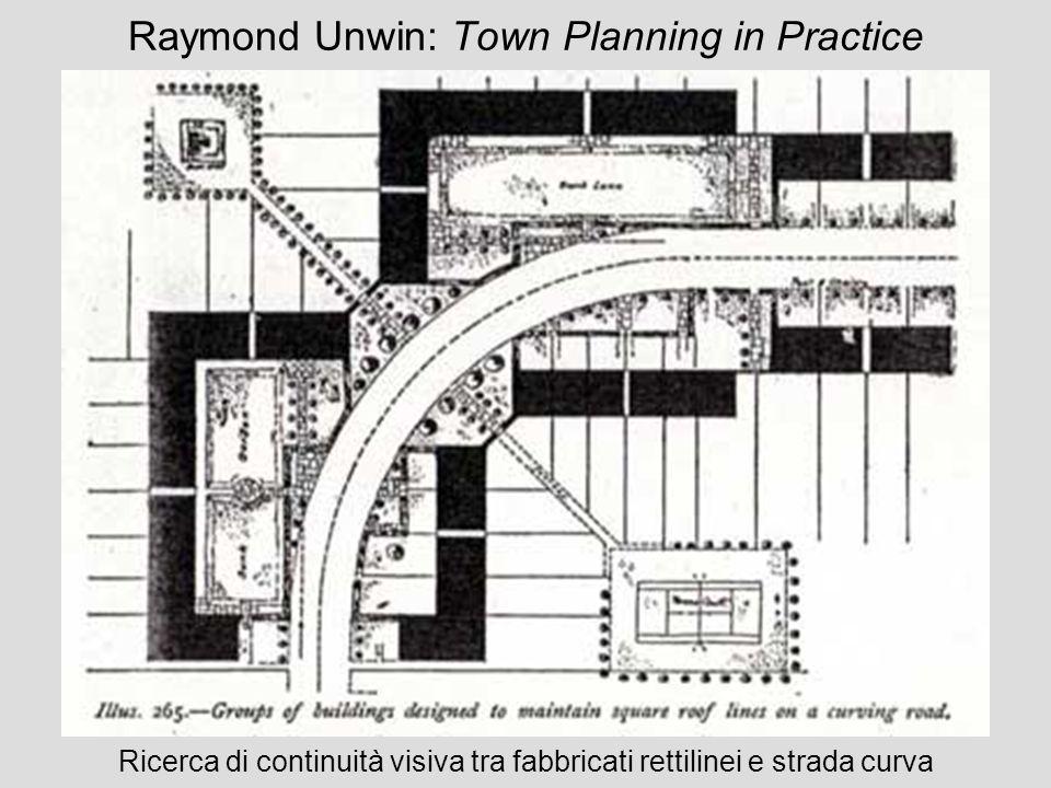 Raymond Unwin: Town Planning in Practice Ricerca di continuità visiva tra fabbricati rettilinei e strada curva