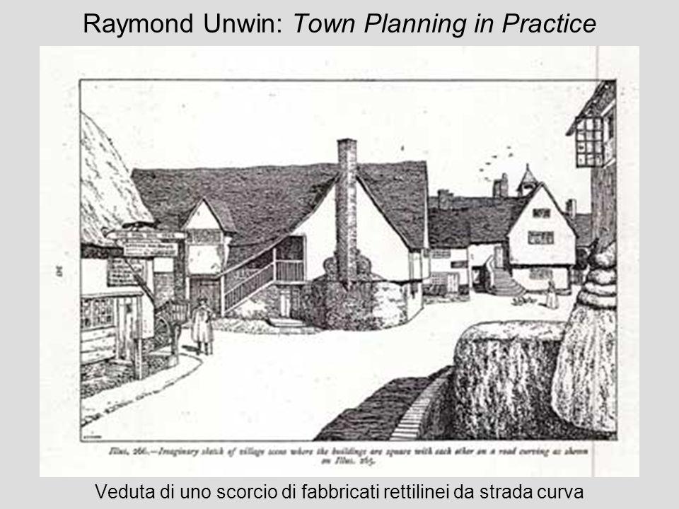 Raymond Unwin: Town Planning in Practice Veduta di uno scorcio di fabbricati rettilinei da strada curva