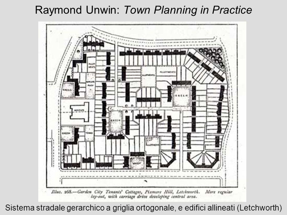 Raymond Unwin: Town Planning in Practice Sistema stradale gerarchico a griglia ortogonale, e edifici allineati (Letchworth)