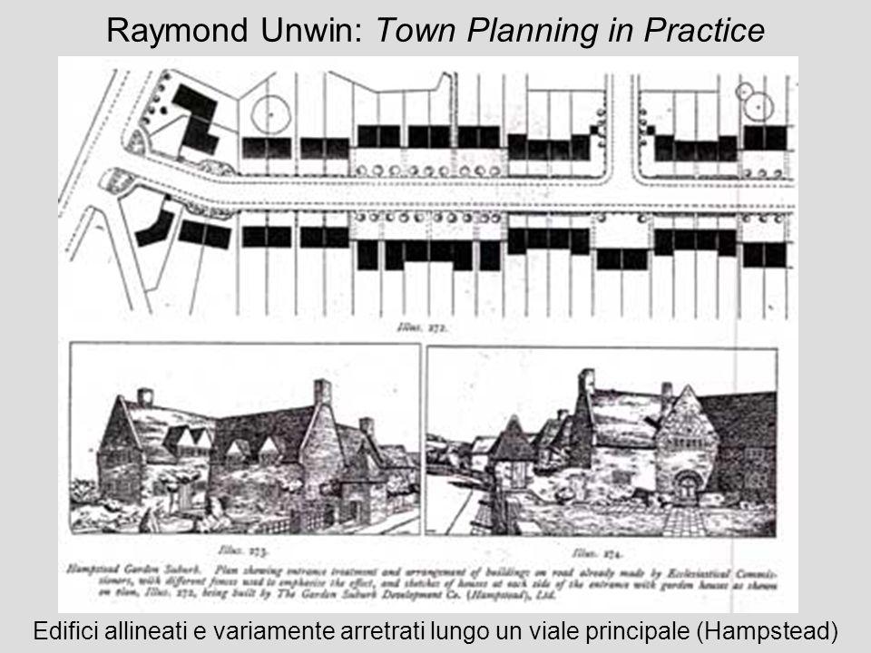 Raymond Unwin: Town Planning in Practice Edifici allineati e variamente arretrati lungo un viale principale (Hampstead)