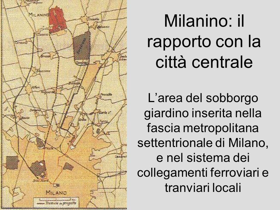 Milanino, piano urbanistico di lottizzazione Il sistema dei lotti fabbricabili organizzato attorno a una rete stradale chiusa e continua, convergente sulla spina verde centrale