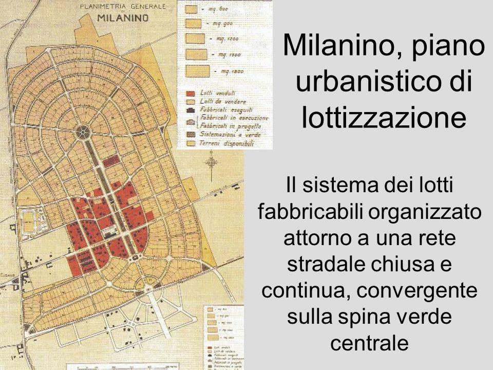 Milanino, piano urbanistico di lottizzazione Il sistema dei lotti fabbricabili organizzato attorno a una rete stradale chiusa e continua, convergente