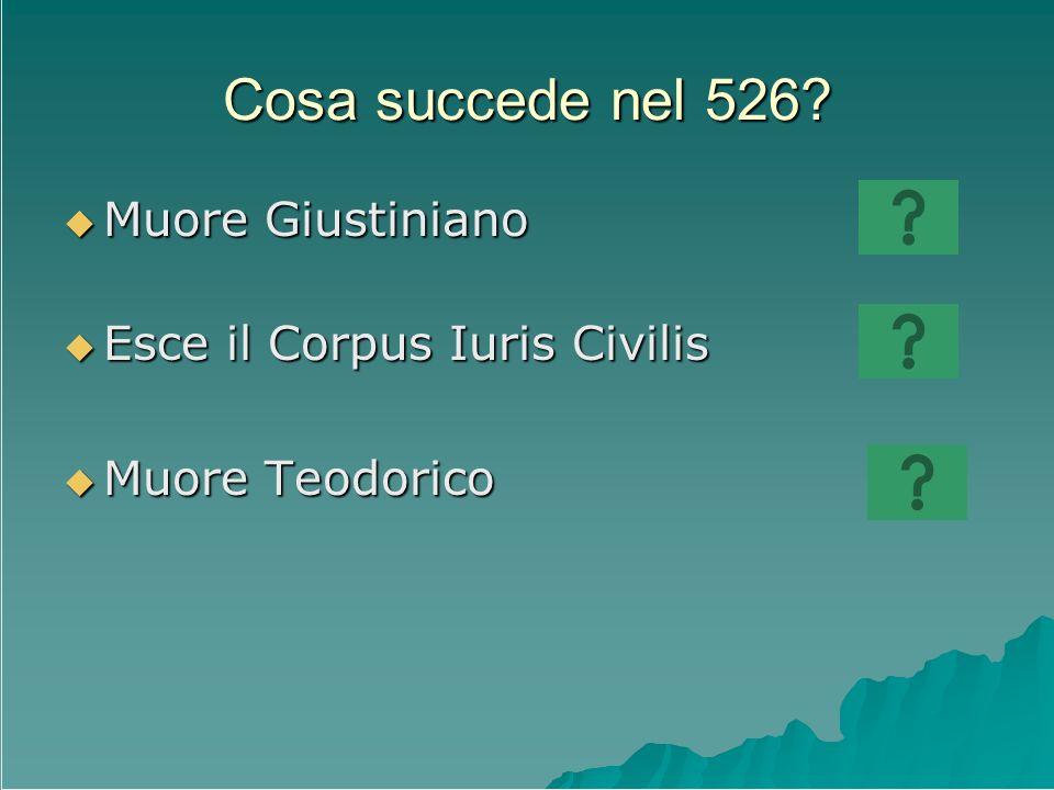 Cosa succede nel 526? Muore Giustiniano Muore Giustiniano Esce il Corpus Iuris Civilis Esce il Corpus Iuris Civilis Muore Teodorico Muore Teodorico