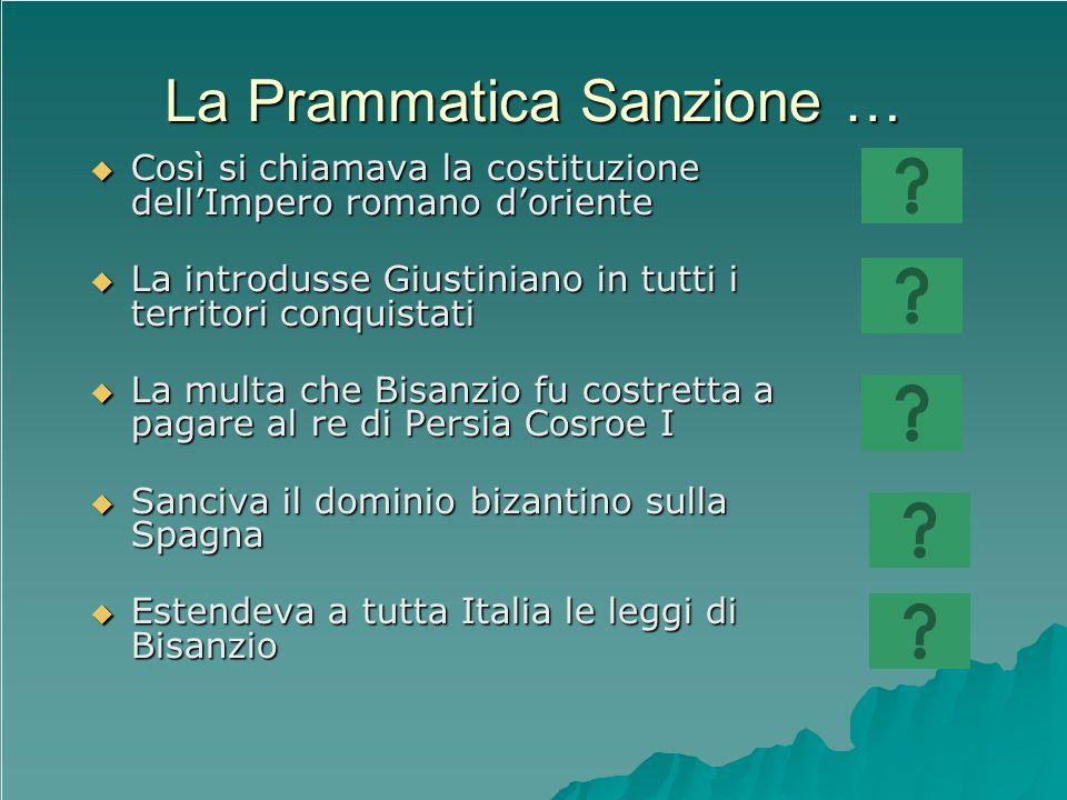 La Prammatica Sanzione … Così si chiamava la costituzione dellImpero romano doriente Così si chiamava la costituzione dellImpero romano doriente La in