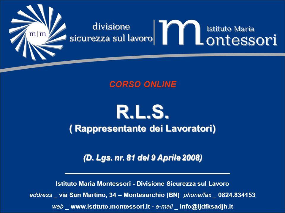 CORSO ONLINER.L.S. ( Rappresentante dei Lavoratori) (D. Lgs. nr. 81 del 9 Aprile 2008) Istituto Maria Montessori - Divisione Sicurezza sul Lavoro addr