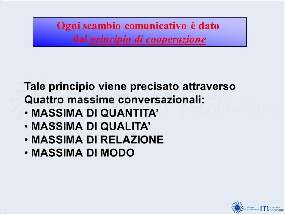 Ogni scambio comunicativo è dato dal principio di cooperazione Tale principio viene precisato attraverso Quattro massime conversazionali: MASSIMA DI Q