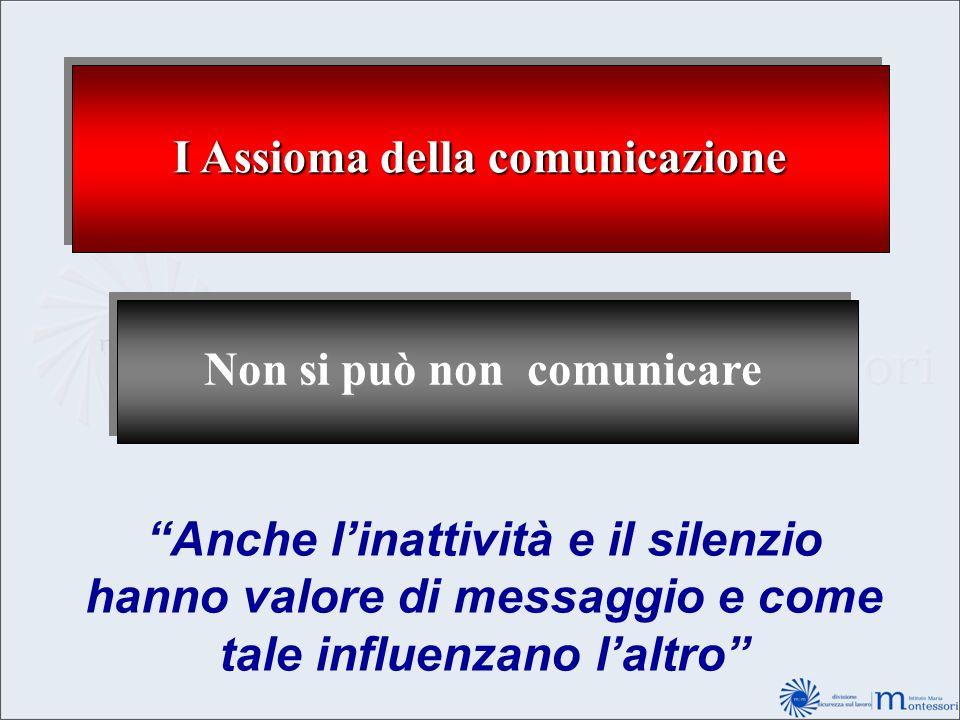 I Assioma della comunicazione Non si può non comunicare Anche linattività e il silenzio hanno valore di messaggio e come tale influenzano laltro